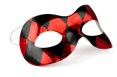 Red and black carnival mask isolated on white photo