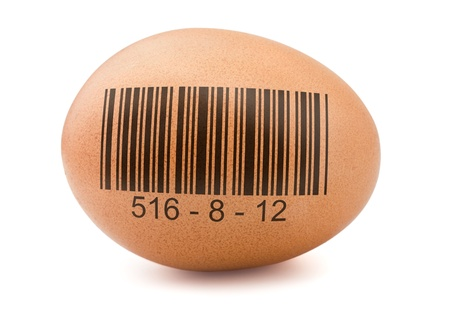 Brown egg with generic barcode isolated on white  photo