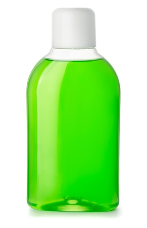 Bottle of green antibacterial mouthwash isolated on white Stock Photo - 17277862