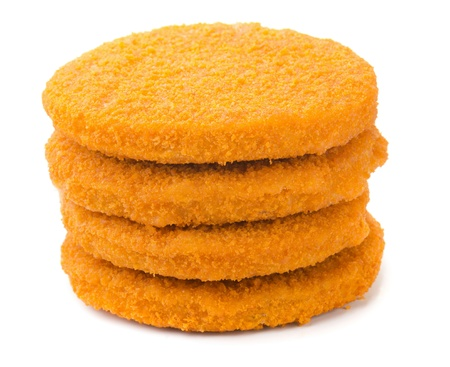 breaded: Stack of fish burgers isolated on white