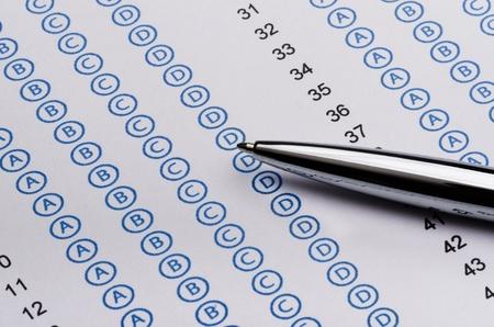 data sheet: Sheet of standardized test and pen