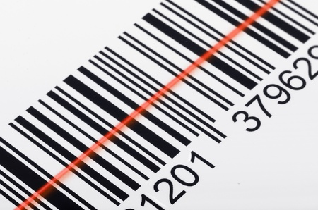 barcode scanner: Close-up of barcode with laser scanner beam Stock Photo