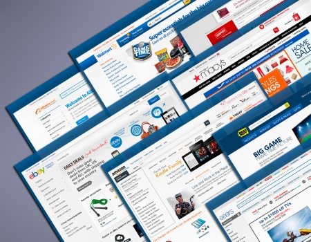 online auction: Samara, Russia - January30, 2013:  Main pages of  the most popular shopping websites.