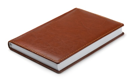 New brown leather notebook isolated on white Stock Photo - 17702412