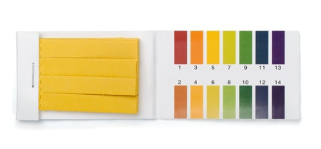 alkaline: Pack of litmus test paper and color samples isolated on white Stock Photo