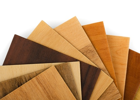 laminate flooring: Wood  sample swatches fan on white background Stock Photo