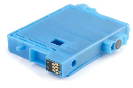 inkjet printer: Blue ink printer cartridge isolated on white