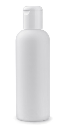 White plastic cosmetic bottle isolated on white Stock Photo - 18496029