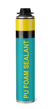 Container of professional polyurethane foam sealant isolated on white photo