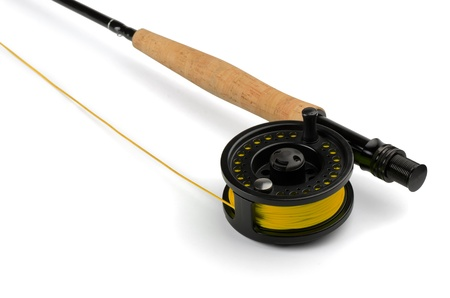 fishing rod: Close up of fly fishing rod and reel isolated on white Stock Photo