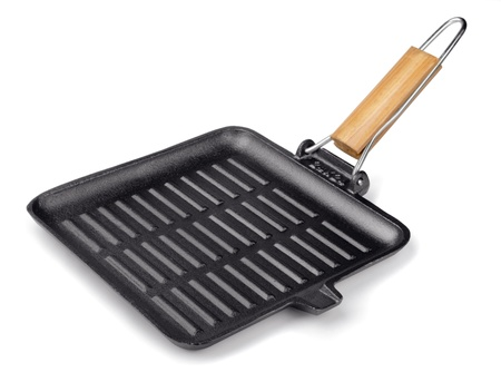 Cast iron square grill pan isolated on white photo