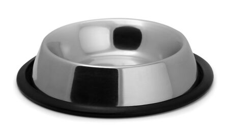 stainless background: Empty metal pet bowl isolated on white Stock Photo