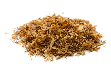 pile of leaves: Pile of dried tobacco isolated on white Stock Photo