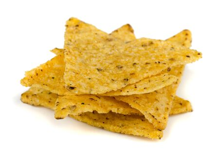 Corn tortilla chips isolated on white  photo