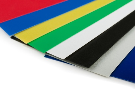 Close up of plastic color swatch fan on white Stock Photo