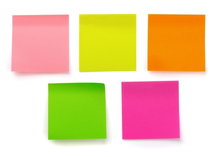post it note: Five color blank sticky notes isolated on white Stock Photo