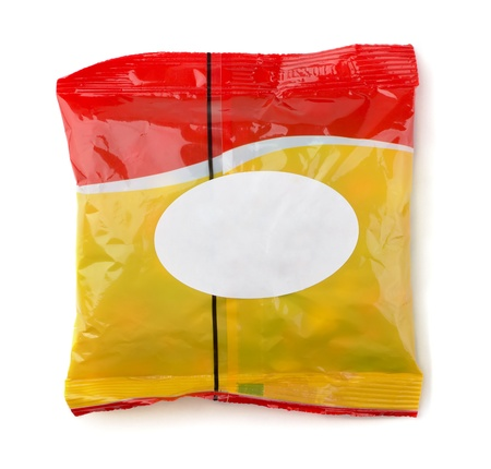 Red and yellow food packet with white label isolated on white photo
