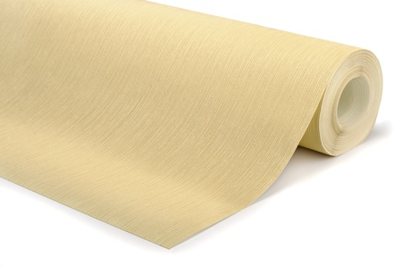 wall covering: Roll of vinyl wallpaper on white background Stock Photo