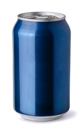Blank blue aluminum soda can isolated on white Stock Photo