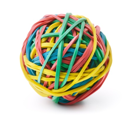 fastening objects: Colorful rubber band ball isolated on white