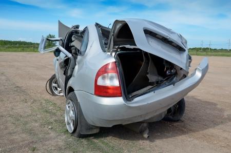 Voiture cassée après terrible accident de voiture Banque d'images - 20052698