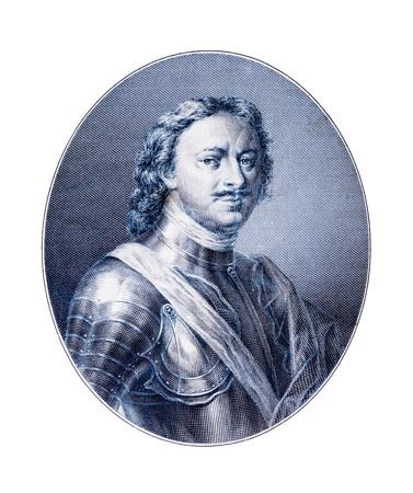 私はロシア 1682年-1725 年の偉大な皇帝ピーターの彫刻 報道画像