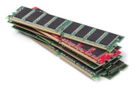 gigabytes: Stack of various RAM modules isolated on white