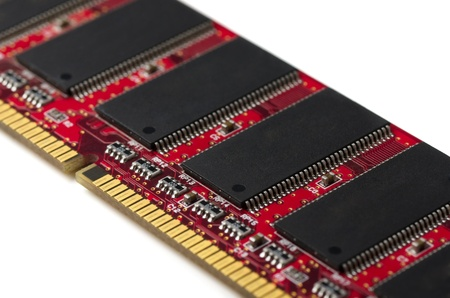 Close-up of computer RAM module on white photo