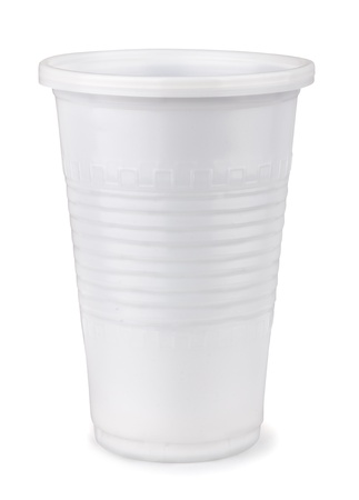White disposable  plastic cup isolated on white photo