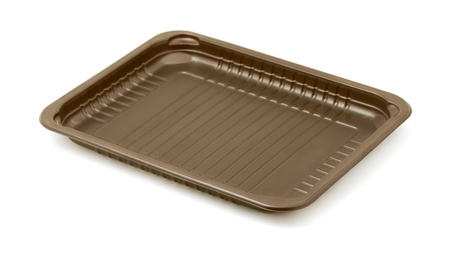 pvc: Empty brown plastic packaging food tray isolated on white Stock Photo