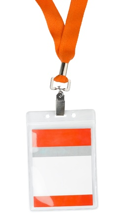Id plastic badge holder with orange lace isolated on white photo
