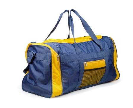 duffel: Large nylon sports bag isolated on white
