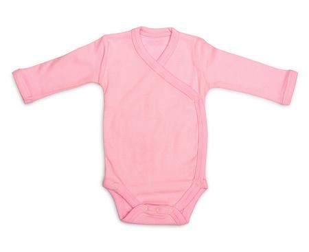 romper: Newborn baby girls pink romper isolated on white Stock Photo