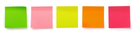 it is isolated: Panoramic shot of  color blank sticky notes isolated on white