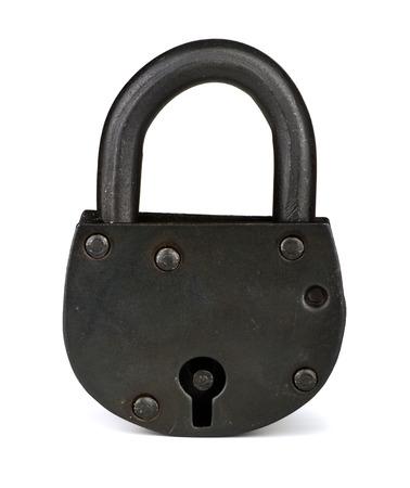 pad lock: Old iron padlock isolated on white