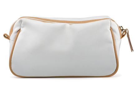 Blanc sac cosmétique textile isolé sur blanc Banque d'images - 22988923