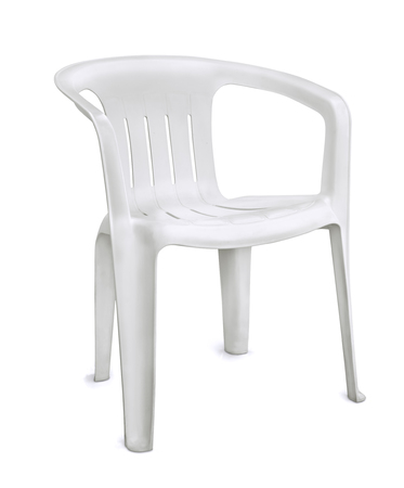 lawn chair: White plastic chair isolated on white