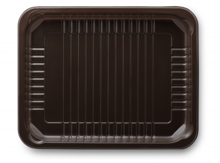 Brown plastic  packing food tray isolated on white
