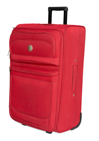 Red textile suitcase isolated on white Stock Photo