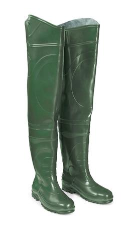 botas altas: Caucho pescadores cadera botas aislados en blanco