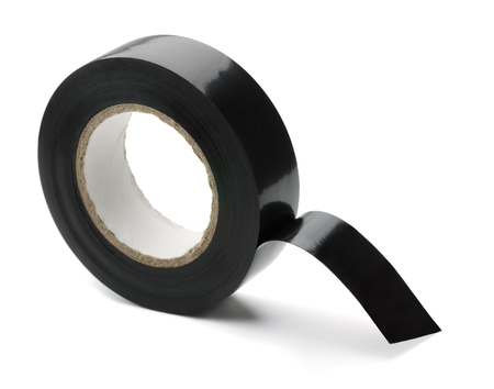 duct tape: Roll of black plastic adhesive tape isolated on white