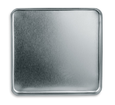 shiny metal background: Top view of empty metal box isolated on white Stock Photo