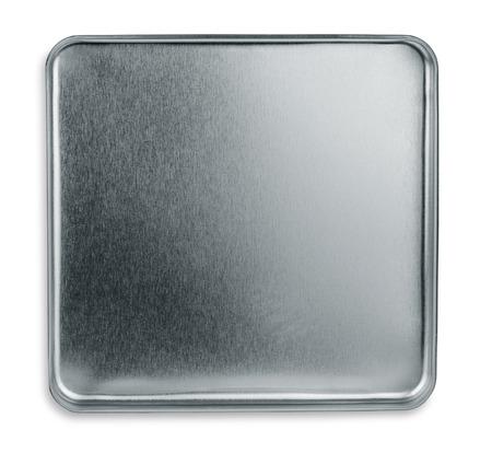 Vista superior de la caja de metal vacía aislados en blanco Foto de archivo