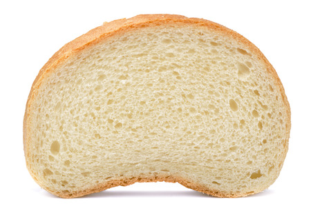 fresh slice of bread: Single slice of bread isolated on white