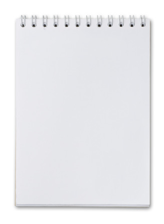 Blank page of notebook isolated on white