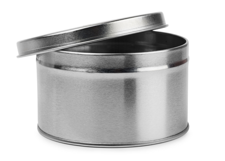 Metal round container isolated on white photo