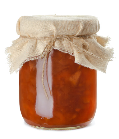 jam jar: Jar of homemade apple jam isolated on white
