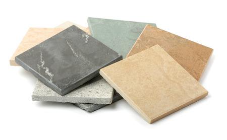 Baldosas de piedra muestras aisladas en blanco Foto de archivo