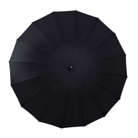 Top view of black open umbrella isolated on white photo