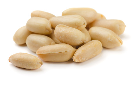 Salted peanuts isolated on white